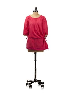 Fuchsia Chikankari Top With Tie Up Details - Nazrana