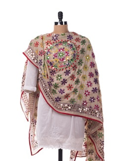 Green Embroidered Dupatta - Vayana
