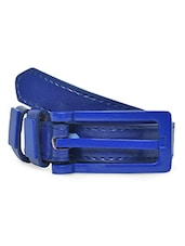Blue Faux Leather Metallic Belt - By