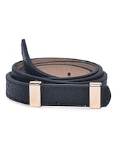 Black Faux Leather Metallic Belt - By