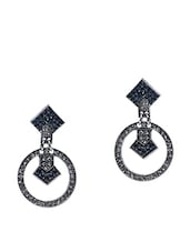 Silver Stone Studded Metallic Earring - By