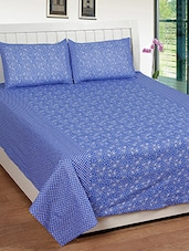 blue floral print cotton bed sheet set -  online shopping for bed sheet sets