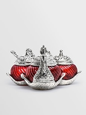 Red Metallic Triple Duck Bowl - Roshni Creations