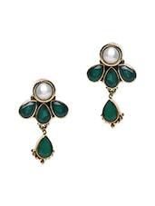 Green Semi-precious Stone Embellished Earrings - Roshni Creations