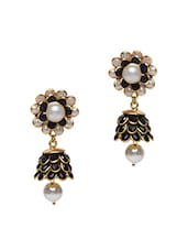 Monochrome Stone Embellished Floral Earrings - Roshni Creations