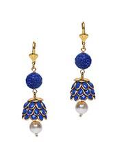 Royal Blue Semi-precious Stone Embellished Earrings - Roshni Creations