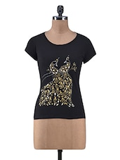 Black Cotton Hand Paint Print Top - By