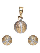 Gold Round Ball Earrings And Pendant Set - By