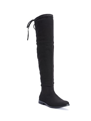 black synthetic knee length boot -  online shopping for boots