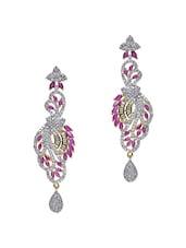 Pink Embellished��ruby Dangler Earrings - Roshni Creations