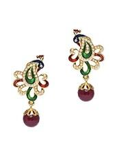 Embellished Multicoloured Peacock Earrings - Roshni Creations