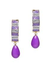 Purple Embellished��curve Drop Earrings - Roshni Creations