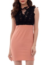 black and peach colour block polyester bodycon dress -  online shopping for Dresses