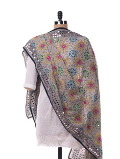 Grey Brightly Embroidered Dupatta - Vayana