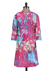 Pink Floral Printed Cotton Kurta - By