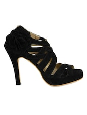 Black Faux  Leather Strappy Heels - Jodie