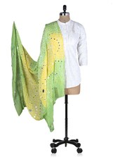 Green And Yellow Printed Sequined Dupatta - Rajasthani Sarees