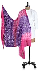 Pink And Purple Printed Sequined Dupatta - Rajasthani Sarees