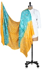 Yellow And Green Printed Sequined Dupatta - Rajasthani Sarees