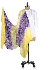 Yellow And Purple Printed Sequined Dupatta - Rajasthani Sarees