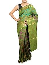 Green Kora Cotton Art Silk Saree - Prabha Creations
