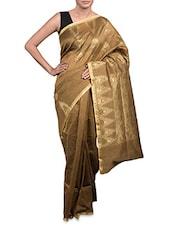 Brown Kora Cotton Art Silk Saree - By