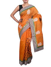 Embroidered Orange Cotton Art Silk Saree - Prabha Creations