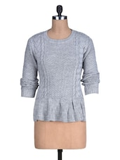 Grey Acrylic Sweater With Flared Hem - By
