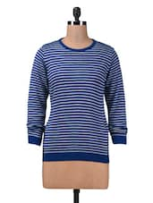 Blue And Grey Striped Acrylic Sweater - By