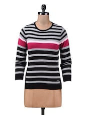 Black And Grey Striped Acrylic Sweater - By