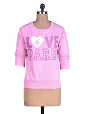 Pink Printed Cotton Fleece Knit Sweatshirt - By