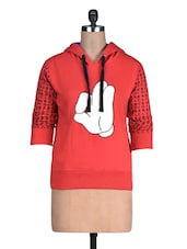 Red Printed Cotton Fleece Knit Sweatshirt - By