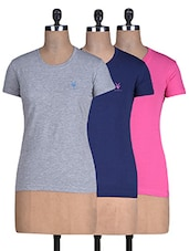 Set Of 3 Cotton Knit T-shirt - By