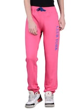 Pink Cotton Fleece Trackpants - By