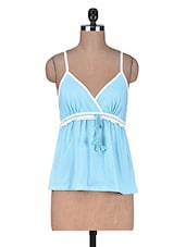 Light Blue Cotton Spandex  Camisole - By