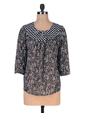 Black Polyester Printed Top - Florrie Fusion