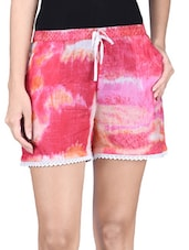 Pink Cotton Printed Shorts - By