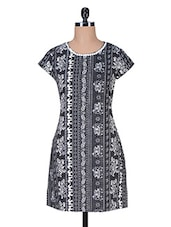 Monochrome Polyester Printed  Dress - Florrie Fusion