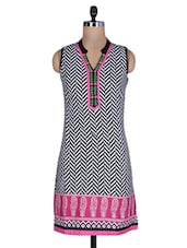 White And Black Printed Cotton Kurti - By