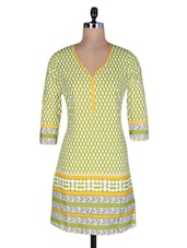 Green And White Cotton Printed Kurti - By