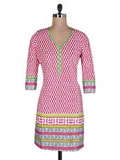 Pink And White Cotton Printed Kurti - By