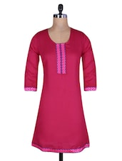 Dark Pink Cotton Kurti With Lace Trim - By