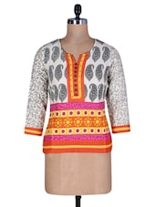 White Cotton Printed Top - By - 1196984
