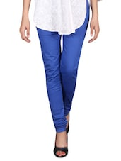 Royal Blue Cotton Lycra Churidar - By
