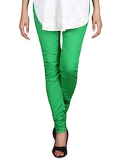 Solid Green Cotton Lycra Churidar - By