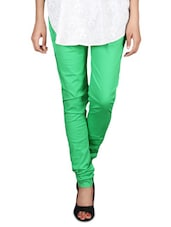 Parrot Green Cotton Lycra Churidar - By