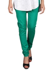 Dark Green Cotton Lycra Churidar - By