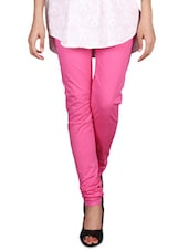 Solid Pink Cotton Lycra Churidar - By