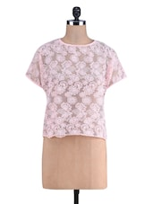 Pink Floral Glass Fabric Top - By