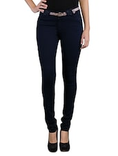 Solid Navy Blue Slim Fit Cotton Jeans - By